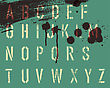 Grunge Stencil Alphabet With Drops And Streaks. Vector, EPS10