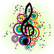 Grunge Vector Musical Notes Background