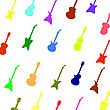 Guitar Background. Set Of Colorful Silhouettes Of Different Guitars