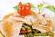 Halibut Filet Roast At Lime Juice With Vegetables stock image