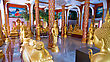 Hall With Statues Of Buddha In Buddhist Temple, Thailand