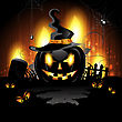 Halloween background with cemetery and pumpkin stock illustration
