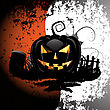 Halloween background with cemetery and pumpkin