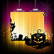 Halloween banner design with pumpkin and cemetery stock illustration