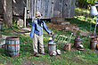 Halloween Display Shown On A Haunted Hayride. Autumn Display Of A Scarecrow.