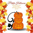 Halloween Greeting (invitation) Card. Elegant Design From Maple And Oak Leaves Frame And Pumpkin Pyramid With Black Cat Behind It Over White Background. Vector Illustration