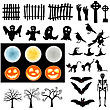 Halloween Holiday Elements Set. Collection With Bat, Ghost, Grave, Tree, Moon, Pumpkin, Witch, Skeleton And Cat Over White Background For Creating Halloween Designs. Vector Illustration