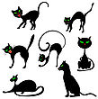 Halloween Holiday Elements Set. Collection With Black Cats In Different Poses Over White Background For Creating Halloween Designs. Vector Illustration