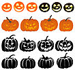 Halloween Holiday Elements Set. Collection With Different Pumpkins Over White Background For Creating Halloween Designs. Vector Illustration