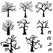 Halloween Holiday Elements Set. Collection With Gothic Trees Over White Background For Creating Halloween Designs. Vector Illustration