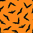 Halloween Holiday Seamless Pattern With Bats Over Orange Background For Creating Halloween Designs. Vector Illustration