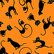 Halloween Holiday Seamless Pattern With Cats Over Orange Background For Creating Halloween Designs. Vector Illustration