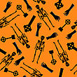 Halloween Holiday Seamless Pattern With Skeleton, Zombie Hand And Grave Stones Over Orange Background For Creating Halloween Designs. Vector Illustration
