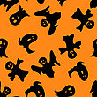 Halloween Holiday Seamless Pattern With Smiling Ghosts Over Orange Background For Creating Halloween Designs. Vector Illustration