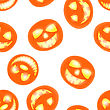 Halloween Holiday Seamless Pattern With Smiling Pumpkins Over White Background For Creating Halloween Designs. Vector Illustration