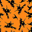 Halloween Holiday Seamless Pattern With Witch And Hats Over Orange Background For Creating Halloween Designs. Vector Illustration