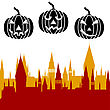 Halloween Pumpkin And Castle Tower. Vector Illustration stock vector