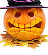 Halloween Pumpkin With Hat And Leaf stock photography