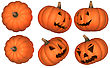 Halloween Scary And Funny Pumpkins Collection Isolated Over White. Other Pumpkins Are In My Portfolio