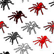 Halloween Seamless Pattern With Black Spiders And A Web (can Be Repeated And Scaled In Any Size)
