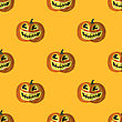 Halloween Smiling Pumpkin Seamless Pattern On Orange