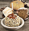 Halloween Treats - Caramel Apple ,Pumpkin,Cake And Candies stock photography