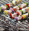 Ham Kababs Cooking On The Grill stock photography