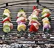 Ham Kabobs Cooking On The Grill stock image