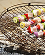 Ham Kabobs Cooking On The Grill stock photo