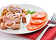 Ham With Beans And Tomatoes stock photo