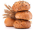 Hamburger Bun Or Roll And Wheat Ears Bunch Isolated On White Background Cutout stock image