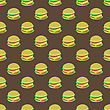 Hamburger Seamless Pattern On Dark Background. Set Of Sandwiches. Unhealthy Fast Food