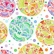 Hand Drawn Abstract Doodle Background. Seamless Vector Pattern With Multicolored Spheres