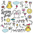 Hand Drawn Doodle Set Of Spring Elements. Flowers, Bunny, Chicken. Vector Illustration, Isolated On White Background