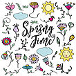 Hand Drawn Doodle Set Of Spring Flowers. Vector Illustration, Isolated On White Background