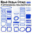 Hand-drawn Forms To Highlight The Advertising And Classified Ads In Newspapers, Magazines, Etc. Position The Subject In The Normal Or Multiplay Mode. Vector Set 01