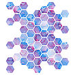 Hand Drawn Purple Background With Hexagons, Vector Format
