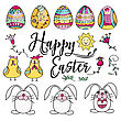 Hand Drawn Set Of Easter Design Elements. Eggs, Chicken, Bunny, Sun, Cloud, Flowers. Perfect For Holiday Decoration And Spring Greeting Cards, Vector Illustration , Isolated On White