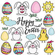 Hand Drawn Set Of Easter Design Elements. Eggs, Chicken, Bunny, Sun, Clouds. Perfect For Holiday Decoration And Spring Greeting Cards, Vector Illustration , Isolated On White