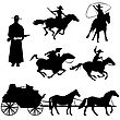 Hand Drawn Silhouettes Of Cowboys And Horses