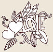 Hand Drawn Valentines Doodle Card Design. Heart And Love Word With Floral Elements. Vector Illustration For Design Of Gift Packs, Wrap, Greeting Cards, Wallpaper, Web Sites And Other