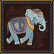 Hand Drawn Vector Illustration. Elephant. Indian Style