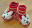 Hand Knitted Baby Booties stock image