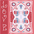Hand Painted Illustration For Valentines Or Romance Post Card. Love Valentine Concept Sign In Red Pink Colors. EPS File