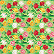 Hand Painted Roses Seamless Pattern In Pink, Red, White And Yellow Tones On Green Background