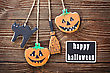Handmade Cookies For Halloween And The Black Plate For Greetings. The Empty Space On The Plate Can Be Used For Writing Or Drawing Particular Congratulations stock photo
