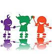 Handrawn Children Silhouettes In Colors