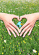 Hands With Heart-shaped Planet Earth On A Background Of Meadow With Flowers stock image