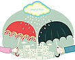 Hands Holding Umbrellas In Raining Day.Vector Retro Colored Image For Text