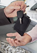 Selling Hands Passing Car Keys stock photo